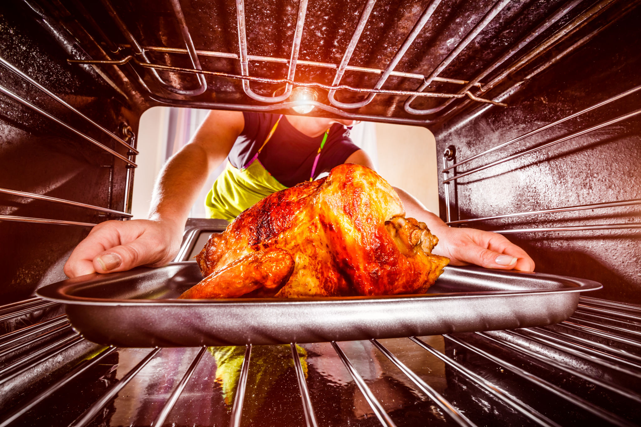 inside of an oven, woman taking a roasted turkey out
