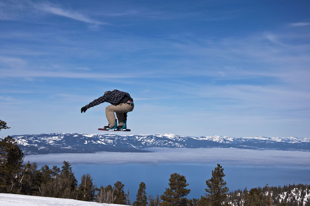 A snowboarder at a Lake Tahoe resort.