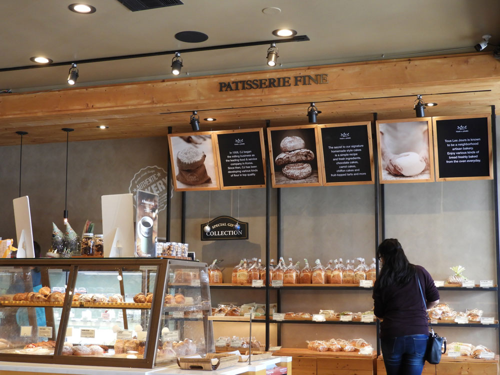 Interior of Tous Les Jours, a South Bay Korean bakery.