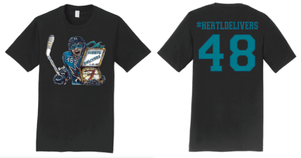 Front and back of #HERTLDELIVERS shirt