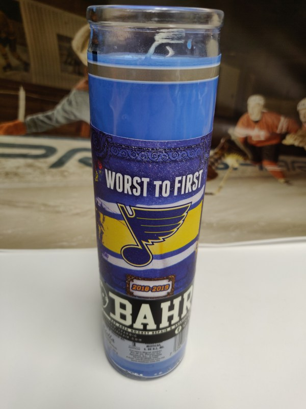 Worst to First Blues playoff candle