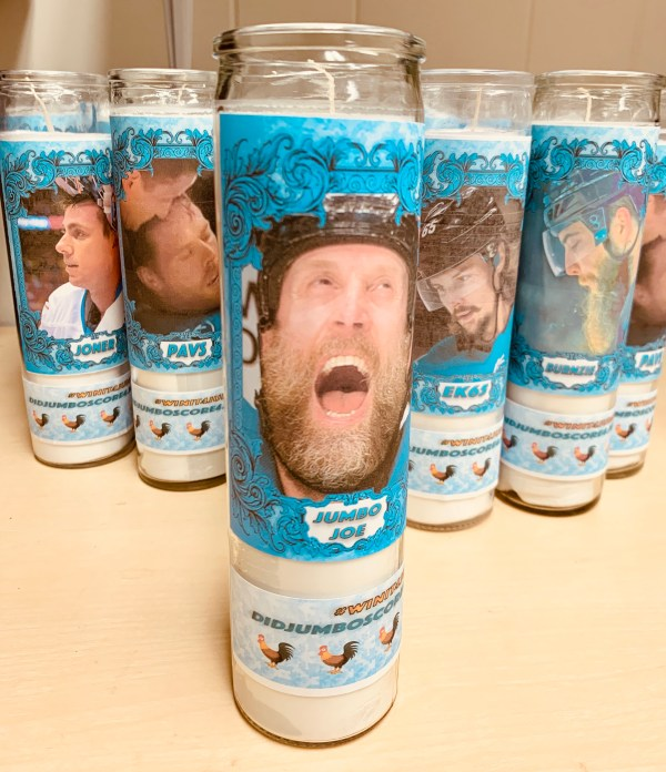 Playoff candle featuring Joe Thornton