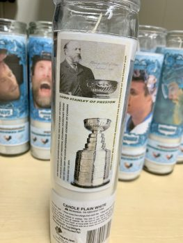 Back of playoff candle showing Stanley Cup