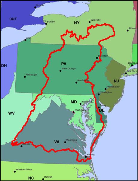 Chesapeake bay watershed for Chesapeake bay fishing map