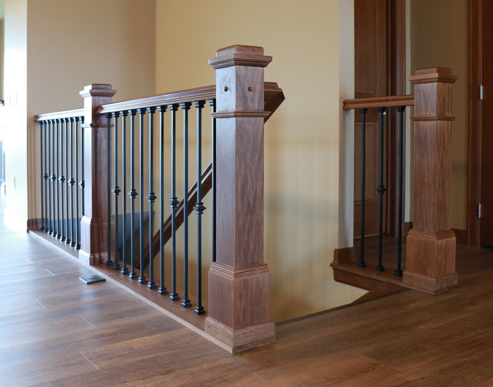 Stair Systems Bayer Built Woodworks | Metal And Wood Interior Railings | Contemporary | Art Craft | Black Glass Interior | Wood Cap | Metal Exterior Brown