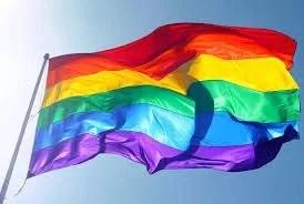 Regenbogen Fahne als Symbol für die Schwulen und Lesben Bewegung