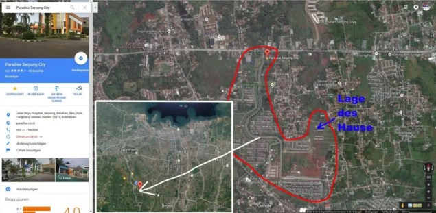 Lage des Hauses in Paradise Serpong City / Screenshot Google Maps