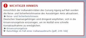 Bis zu 6.000 deutsche Touristen auf Bali / Screenshot Deutsche Botschaft Jakarta
