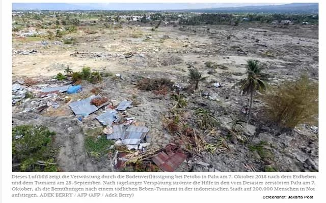 Erdbeben Palu noch 5.000 Vermisste Screenshot: Jakarta Post