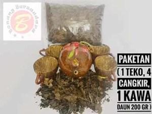PAKET KAWA DAUN 200 GR 4 Tassen Plus 1 Teekanne Aus West-Sumatra