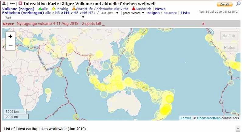 Übersicht aller Beben im Juni 2019