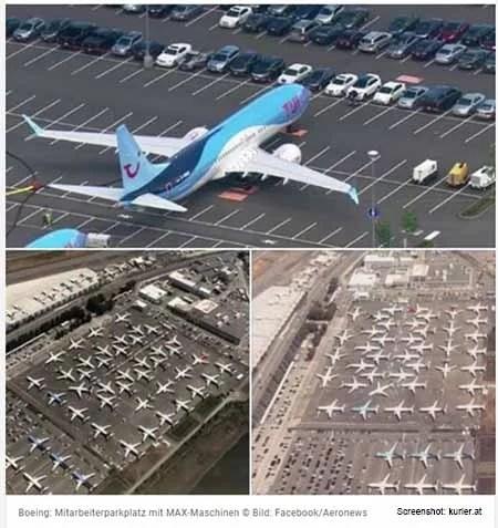 oeing Maschinen vom Typ 737 Max 8 parken auf Mitarbeiterparkplätzen