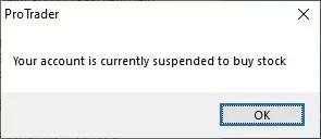 Pop-up Meldung für die Suspendierung meines Börsen-Accounts