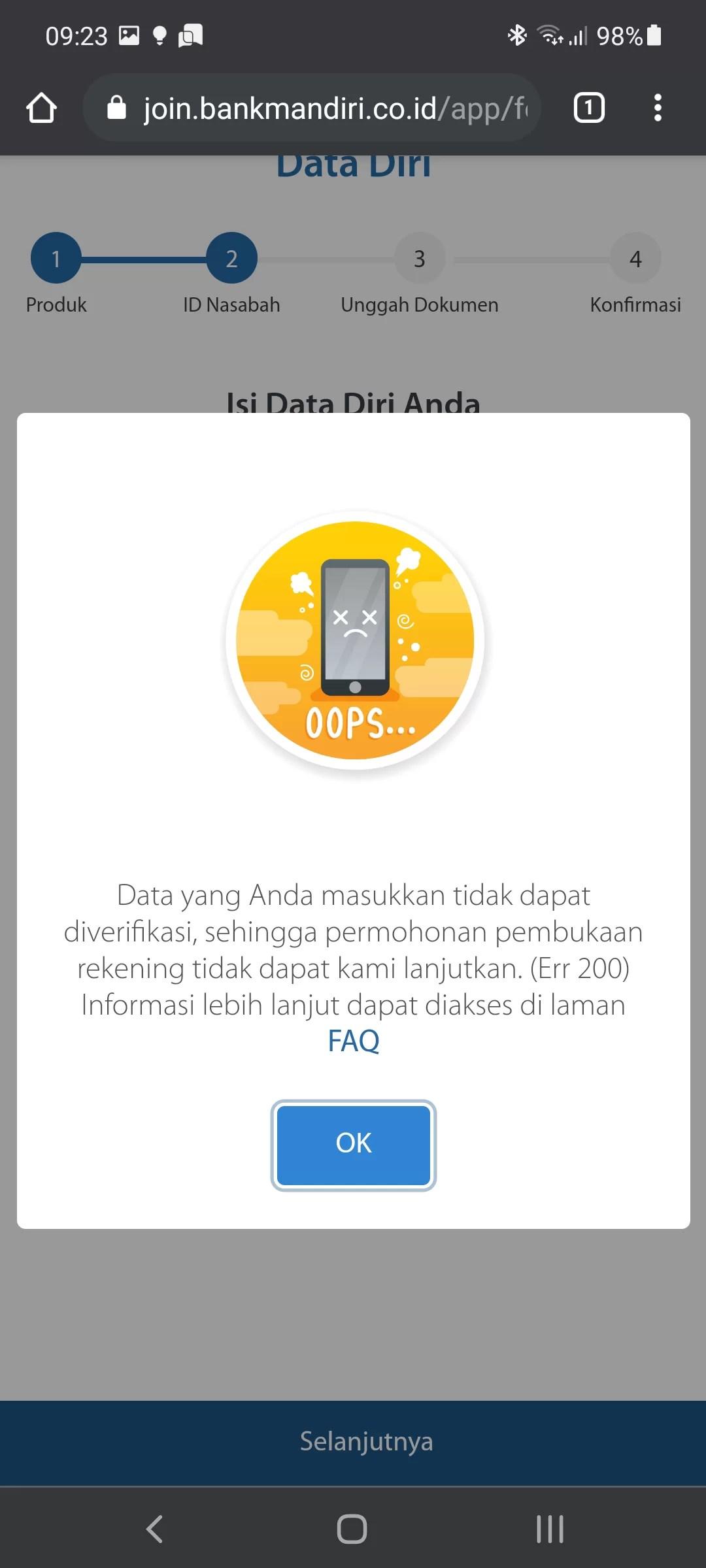 Screenshot Fehlermeldung Mandiri Webseite