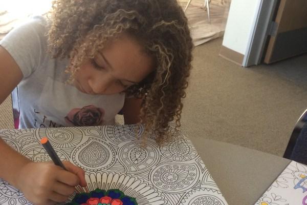 Student doing artwork