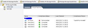 VM Storage Profiles - vm home noncompliant