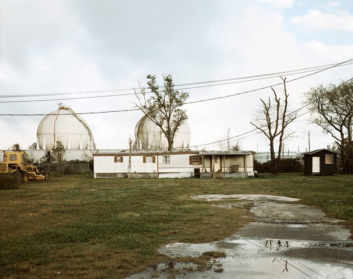 Richard Misrach, Trailer Home and Natural Gas Tanks, Good Hope Street, Norco, Louisiana, 1998, from Petrochemical America.