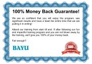 BAYU 100% Money Back Guarantee