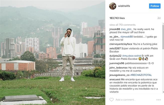 Wiz Khalifa's stunt at Escobar's funeral sparks outrage