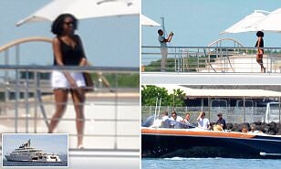 Barack and Michelle Obama are pictured on French Polynesian islands