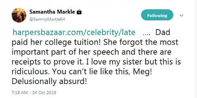 Samantha Markle 's crazy rant about Meghan continues