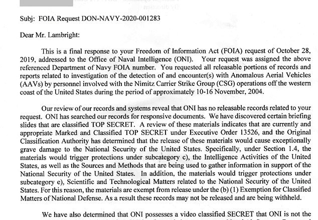 FOIA report reveals that the Navy DID find what is believed to be an extraterrestrial object in 2004: Report