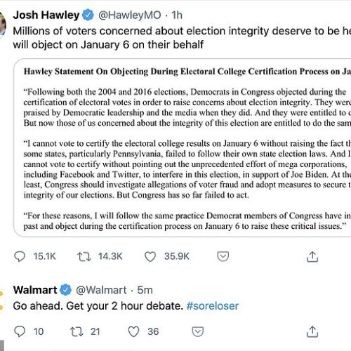 Wal-Mart rightfully  called  crackpot Senator Josh Hawley a sore loser  and it was awesome