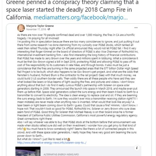 Marjorie Taylor Greene now claims that the California wildfires were started by a Jewish signal