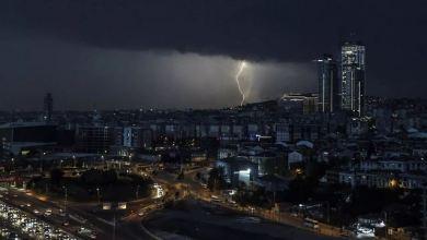 Lightning strikes illuminate Istanbul throughout night 3
