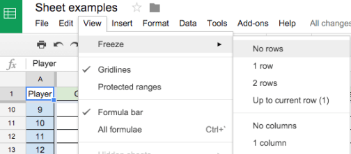 how to make the first row freeze in google sheets