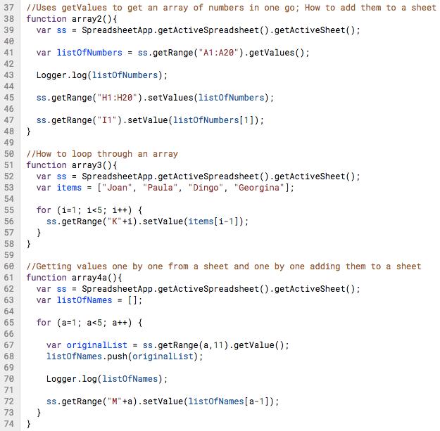 Apps Script Basics 5 Arrays Logger Execution Transcript