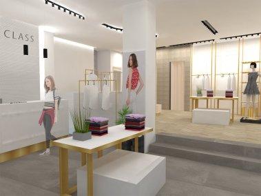 Progettazione negozio di abbigliamento Class - cassa