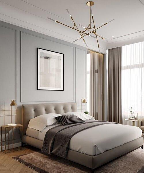 camera da letto con parete con boiserie in legno