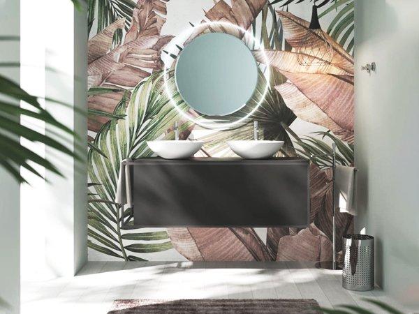 specchio tondo e carta da parati - arredare il bagno