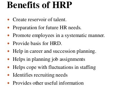 Benefits of Human Resources Planning