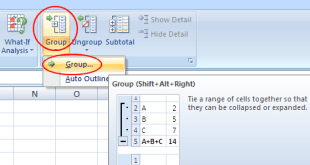 How to hide columns rows with plus and minus button in Excel