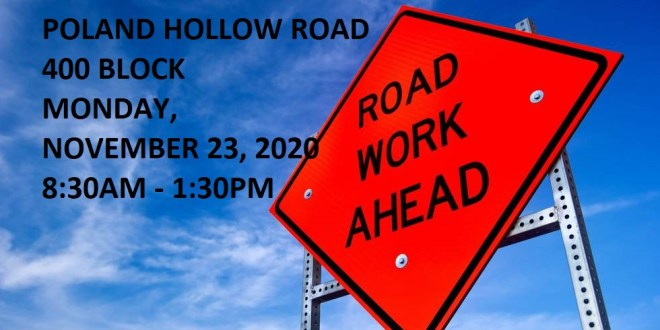 Road Repair Work on Poland Hollow Road