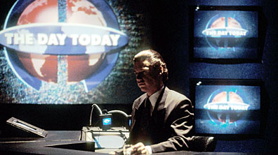 A photograph of Chris Morris on the set of the Day today