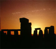 The stones of Stonehenge seen at sunrise