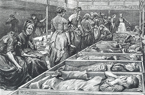 A Salvation Army shelter for women in Hanbury Street, Whitechapel drawn from life by Paul Renouard, The Graphic, 27 February 1892