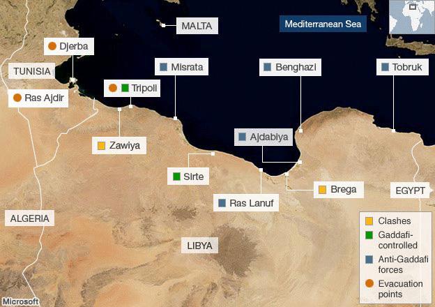 Libya, military bases map