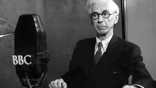 Lord Bertrand Russell in a BBC Radio studio