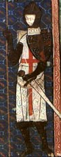 Saint George depicted as a knight in medieval armour and a white tabard with red cross on it