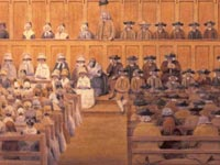 Historical painting of a Quaker meeting