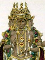 Painted engraving of Brahma showing his four heads