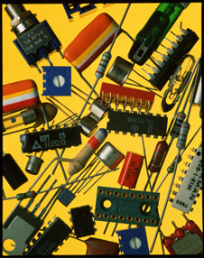 A selection of electrical circuit board components