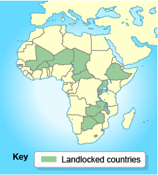 An image of Africa highlighting the 15 landlocked countries