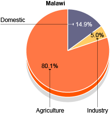 Pie chart showing Malawi's water usage