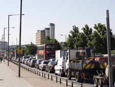 Traffic jam on the A2 in London
