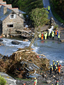 Floods in Boscastle, north Cornwall
